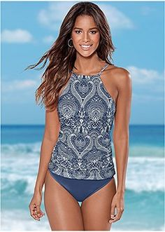 0d4a32c833329 Shop sexy RUCHED SIDE HALTER TANKINI in Denim Lace online at VENUS today!  Discover women s