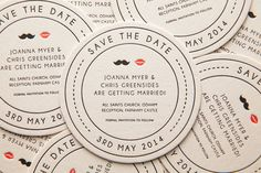 Mr & Mrs Letterpress Save the Date Beer Mats / Coasters