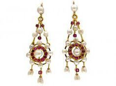 Victorian Natural Pearl And Ruby Drop Earrings