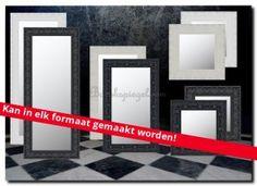 Grote zwarte moderne spiegel op blinde muur in de woonkamer 204x104 ...