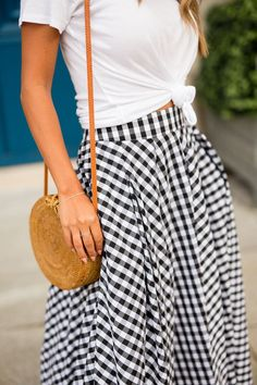 I love everything gingham! Gingham skirt outfit, spring 2018. #womensfashion