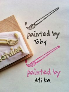 painting hand carved rubber stamp - handmade rubber stamp - painted by stamp -  mounted