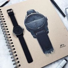 Picked up a sweet new black on black watch from @gaxswatches to add to the collection! #watch #watches #watchporn #ID #idsketching #industrialdesign #productdesign #design #sketch #sketching #sketchbook #drawing #draw #art