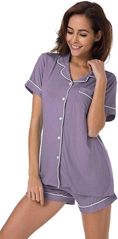 bdf8de55f6 SIORO Sleepwear Plus Size Women s Cotton Pajamas 2 Piece Ladies Knit Loungewear  with Shorts Button Down Pajama Set Short for Women Gray Purple XL at Amazon  ...