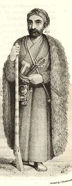 A man of the Kurdish Jaff tribe, 19th century. The Jaff are native to the northern and central Zagros area, which is divided between Iran and Iraq.