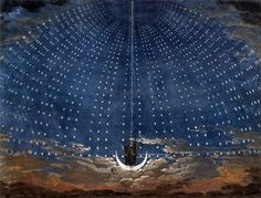 Karl Friedrich Schinkel - Starry Sky for the Queen of the Night Set design for Mozart's opera The Magic Flute and the cover for a favorite book of mine - a trip to the stars. Design Set, Stage Set Design, Theatre Design, Art Lyrique, Carl Friedrich, Berlin Museum, The Magic Flute, Art Plastique, Paintings