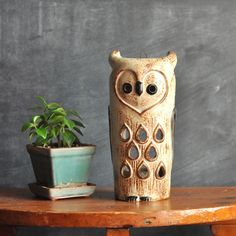 Vintage 1970s Ceramic Owl Candle Holder Lantern
