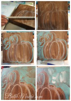 How to Paint a Pumpkin For Art Teachers and Personal Use I decided I needed a few more Fall decorations but I didn't want to spend too muc. Pumpkin Canvas Painting, Autumn Painting, Autumn Art, Tole Painting, Diy Painting, Canvas Art, Painting Tutorials, Fall Paintings, Art Tutorials