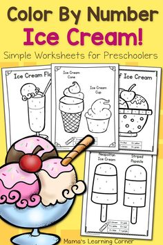 Download an 8-page set of color by number worksheets for preschool with a fun ice cream theme! Focuses on numbers 1 through 8.