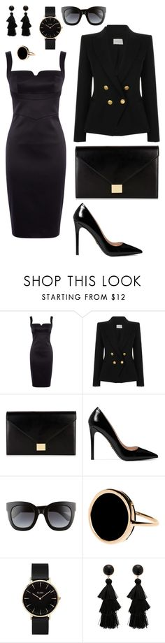 """""""Black glam"""" by maja-kristiansson on Polyvore featuring Karen Millen, Pierre Balmain, Victoria Beckham, Prada, Gucci, Ginette NY and CLUSE"""