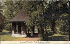 1910 Kokomo Indiana Ind Postcard Artesian Well City Park Gazebo