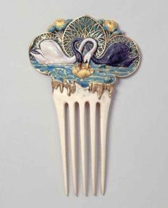 Hair comb by Paul Vever – and Henri Vever – for Maison Vever, after design by Eugène Samuel Grasset Swan and Lily Pin, circa in Ivory, gold, and enamel. Vintage Hair Combs, Vintage Hair Accessories, Hair Accessories For Women, Fashion Accessories, Hair Jewelry, Jewelry Art, Antique Jewelry, Vintage Jewelry, Jewelry Design