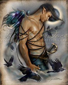 Raven... Warrior Fay... Men Fairy Picture Art... 5x7 Matted Print... Fantasy Art... Ravens...Moon...Handsome Masculine Male Fairy. $15.00, via Etsy.