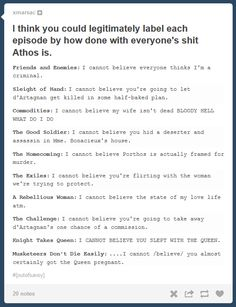 The Musketeers - Athos is done, you hear?! lhahaha this is very true. Poor Athos, he's got deal with every one's shit XD