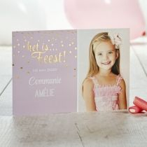 Schattig roze kaartje voor communie of feestje | Tadaaz