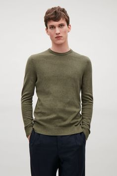 COS image 4 of Cotton and yak jumper in Khaki Green