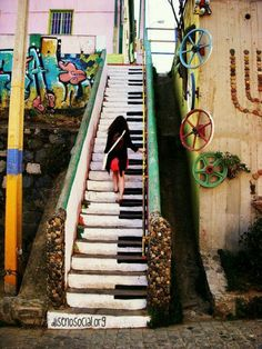 Piano Stair, Valparaíso, Chile  CITATION: Im gonna use stair case similar to this and have a piano going up the stairs.