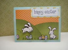 "Lawn Fawn ""Happy Easter"" stamp set, Lawn Fawn ""Pink lemonade"" paper collection, Copics, Distress inks, pop dots."
