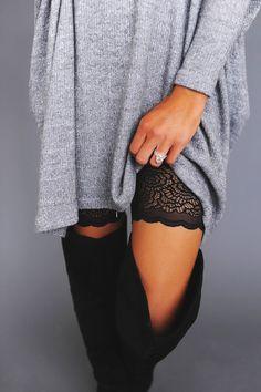 Black Lace Trim Biker Shorts - Dottie Couture Boutique - lingerie, sheer, ideas, garter, seductive, elegant lingerie *ad