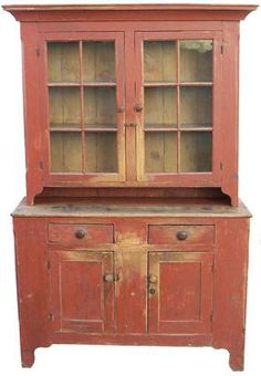 Early 19th century Shenandoah Valley Virginia Two piece Stepback Cupboard with the original dry red paint~♥~