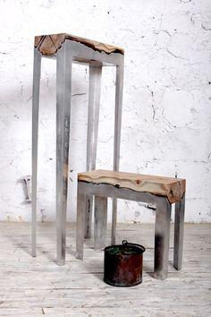 Cast Aluminum And Tree Trunk Furniture By Hilla Shamia Studio Holztisch Mit  Metallgestell, Beton,