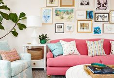 pink sofa + gallery wall | Amie Corley Interiors
