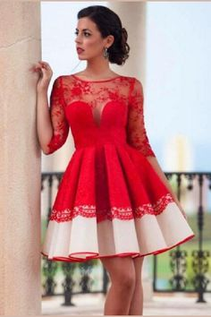 Red Homecoming Dresses, Prom Dress Lace, Lace Red Prom Dress, Sexy Prom Dress Lace Prom Dresses on Luulla Short Red Prom Dresses, Long Sleeve Homecoming Dresses, Red Lace Prom Dress, Prom Dresses With Sleeves, Trendy Dresses, Nice Dresses, Dress Red, Classy Dress, The Dress