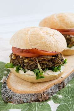 Recipe | Lentil Mushroom Burgers  -  If you like texture in your veggie burgers, try this delicious and hearty veggie burger! You can really see whats in these burgers when cooked.  Baking is the best way to cook these kinds of veggie burgers. There's no flipping, no grates for the burger to fall through–it just works better. Click on photo for full recipe. ENJOY!