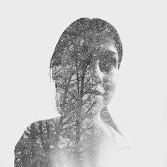 Double exposure using found portrait image and my own scenery image.