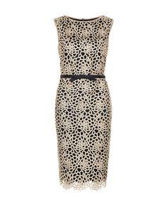 Tadashi Shoji Guipure lace dress in taupe and black designer dresses online australia