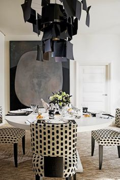 dining rooms, chair, interior, polka dots, dine room, light fixtures, black white, alberto pinto, design