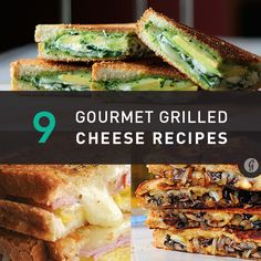 Nine gourmet grilled cheese recipes-- a cheesehead's heaven! Want to try the healthy roasted veggie-filled version!