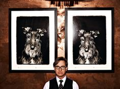 Paul Feig with portraits of Linus
