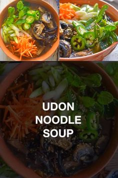 An easy Udon Noodle Soup that's light, refreshing and packed with flavour. It makes a perfect low maintenance, mid-week meal. Once you've made that flavoursome broth you can really get creative with the toppings! #noodlesoup #vegansoup #vegansouprecipes #recipe #soup #lunch #dinner