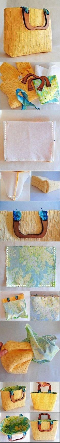 Idee riciclo, un maglione che diventa una borsa trendy