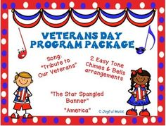*** Special Price $3.50 *** VETERANS' DAY PROGRAM PACKAGE Contains the following: • Song: TRIBUTE TO OUR VETERANS (Music and Lyrics) • MP3 Piano Accompaniment Track • Easy Tone Chimes & Bells arrangements for: o THE STAR-SPANGLED BANNER o AMERICA These pieces can add a special touch to your Fall Concert by honoring our Veterans. This is an original song written with melody and chord symbols; MP3 track could be used for accompaniment. The Tone Chimes and Bells pieces are easy to learn as it…