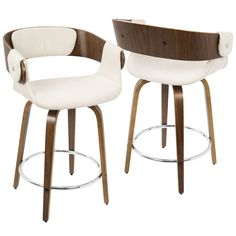 Seat everyone for breakfast with these comfortable mid-century modern counter stools. Crafted with bentwood backs and plush fabric seats, these tall, supportive swivel stools work great for kitchen co