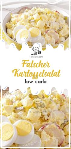 Falscher Kartoffelsalat low carb - Ingredients for people (depending on hunger and side dishes): 1 kg kohlrabi 1 small onion 4 egg - Ketogenic Recipes, Low Carb Recipes, Low Carb Potatoes, Fried Potatoes, Law Carb, Chou Rave, Watermelon Nutrition, Yogurt Recipes, Salad Ingredients