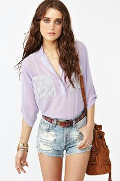 Lavender top and jean shorts. :)