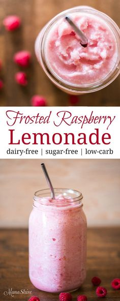 Frosted Raspberry Lemonade – Delicious and refreshing! Dairy-free, sugar-free, l… Smoothie Drinks, Healthy Smoothies, Healthy Drinks, Healthy Food, Keto Smoothie Recipes, Whole 30 Smoothies, Nutrition Drinks, Dinner Healthy, Healthy Treats