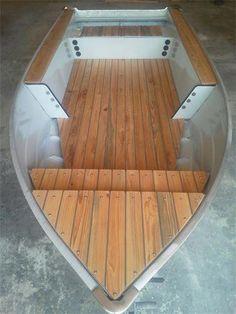 Aluminum Boat with Teak Decking Aluminum Fishing Boats, Small Fishing Boats, Aluminum Boat, Small Boats, Wood Boat Plans, Boat Building Plans, Sailboat Plans, Fishing Boat Accessories, Boating License