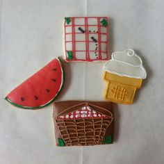 Picnic themed decorated cookies Made by Pastry Chef Yolanda-