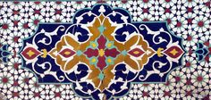 Golestan Palace, Tehran, Iran . Eastern Garden Wall Recessed Niches Polychrome Tiles Blue Color Combinations, Persian Architecture, Library Images, Arabesque, Islamic Art, Wall Tiles, Ottoman, Quilts, Wallpaper