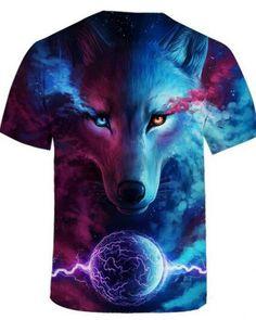 a38293a86fc3 3D galaxy wolf tshirt for men lightning ball animal face t shirts short  sleeve Wolf T