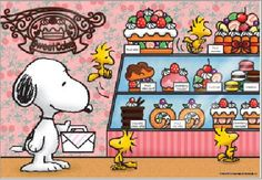 Apollo-sha Peanuts Snoopy and Woodstock in a Cake Shop, FM screen printing 300 pcs. We sell Japan jigsaw puzzles and gifts to worldwide. Peanuts Cartoon, Peanuts Snoopy, Peanuts Comics, Snoopy Love, Snoopy And Woodstock, Peanuts Characters, Cartoon Characters, Hello Kitty Imagenes, Snoopy Pictures