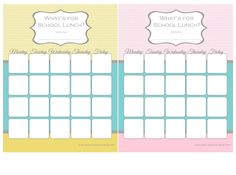 School Lunch Menu Planners- I hope this helps me be a better lunch mom.