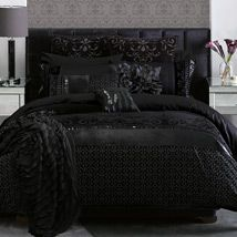 Highly decorative prints, velvet and flocking adorn the luxurious cotton sateen fabric of Francesca, dazzling black sequins providing further embellishment as they sparkle and glimmer in the light. This stately and beautiful design will make an impressive bedroom statement.