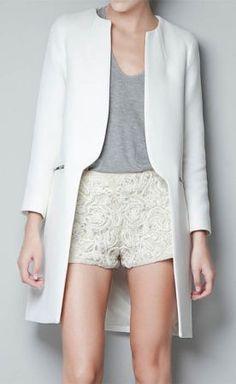 White Round Neck Zip Embellished Pockets Longline Blazer