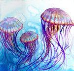 DeviantArt: More Like Jellyfish Painting by Vampiric-Time-Lord Watercolor Jellyfish, Jellyfish Painting, Watercolor Fish, Watercolor Animals, Watercolor Paintings, Watercolour, Theme Tattoo, Artist Sketchbook, Sea Art