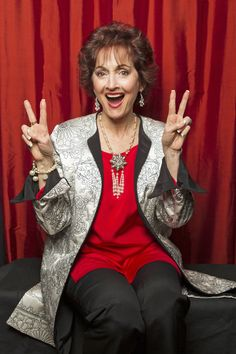 Robin Strasser giving us her best peace sign in the TV Guide Magazine photo booth  (Photo Courtesy of Victoria Will / TV Guide Magazine)